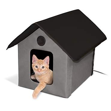 K&H Gray and Black Outdoor Heated Cat House