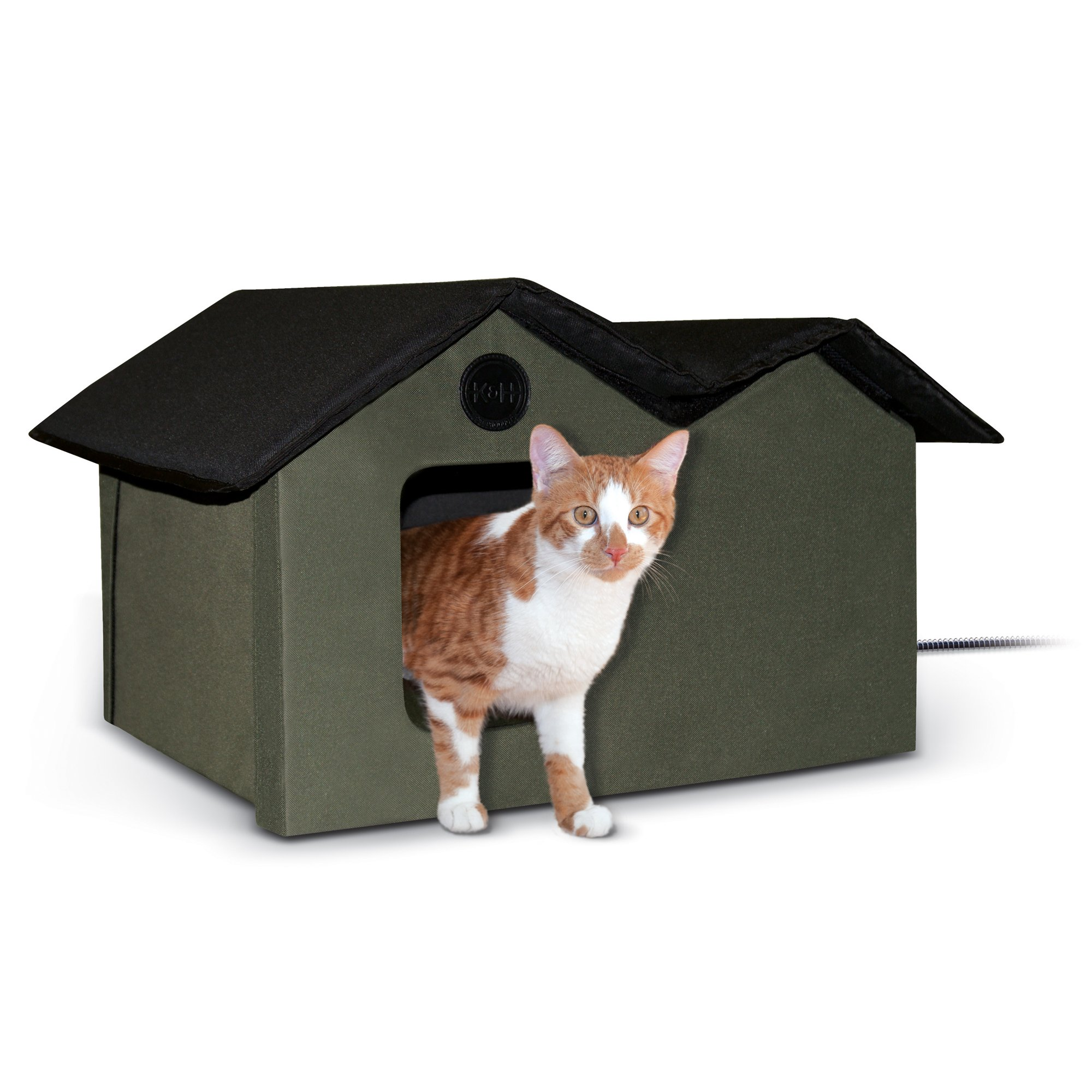 K Amp H Olive And Black Outdoor Heated Cat House Petco