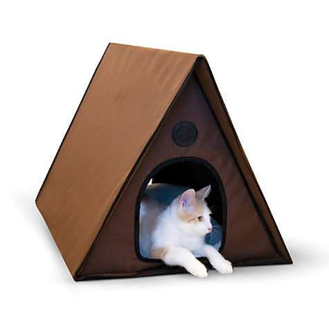 K&H Chocoloate Outdoor Heated A-Frame Cat Bed