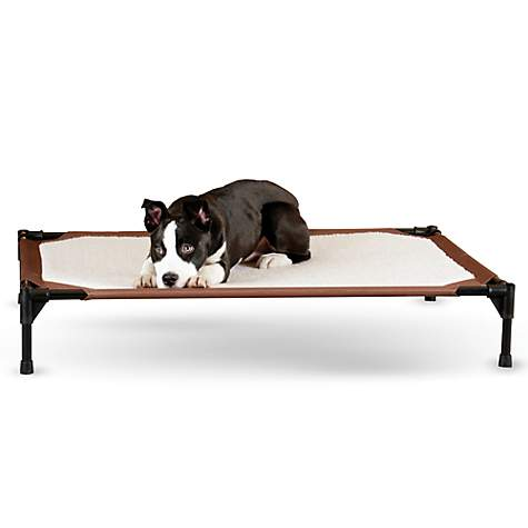 K&H Brown and White Self-Warming Pet Cot