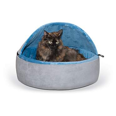K&H Blue and Gray Self Warming Hooded Cat bed