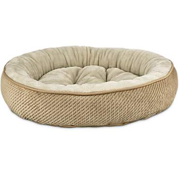 Harmony Textured Round Cat Bed in Tan