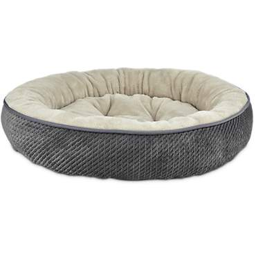 Harmony Textured Round Cat Bed in Dark Grey