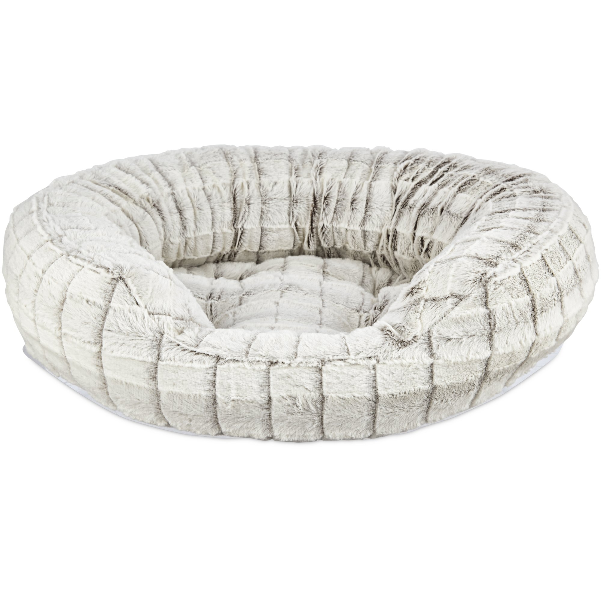 Harmony Faux Fur Cat Bed In Grey