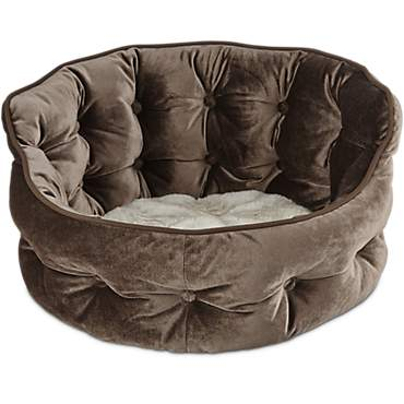 Harmony Tufted Cat Bed in Brown