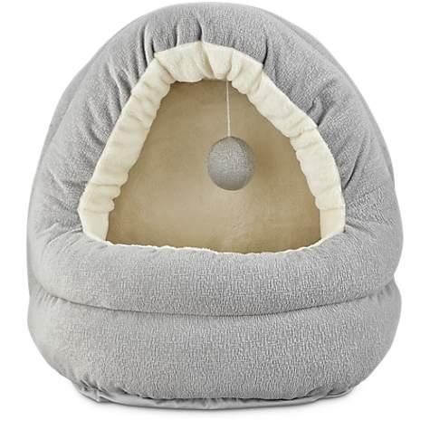 Amazing Harmony Hooded Cave Cat Bed In Grey 17 L X 15 W Customarchery Wood Chair Design Ideas Customarcherynet