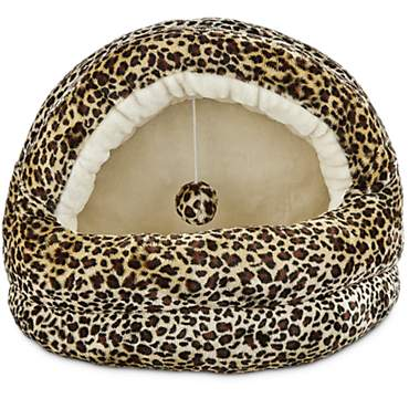 Harmony Hooded Cave Cat Bed in Cheetah