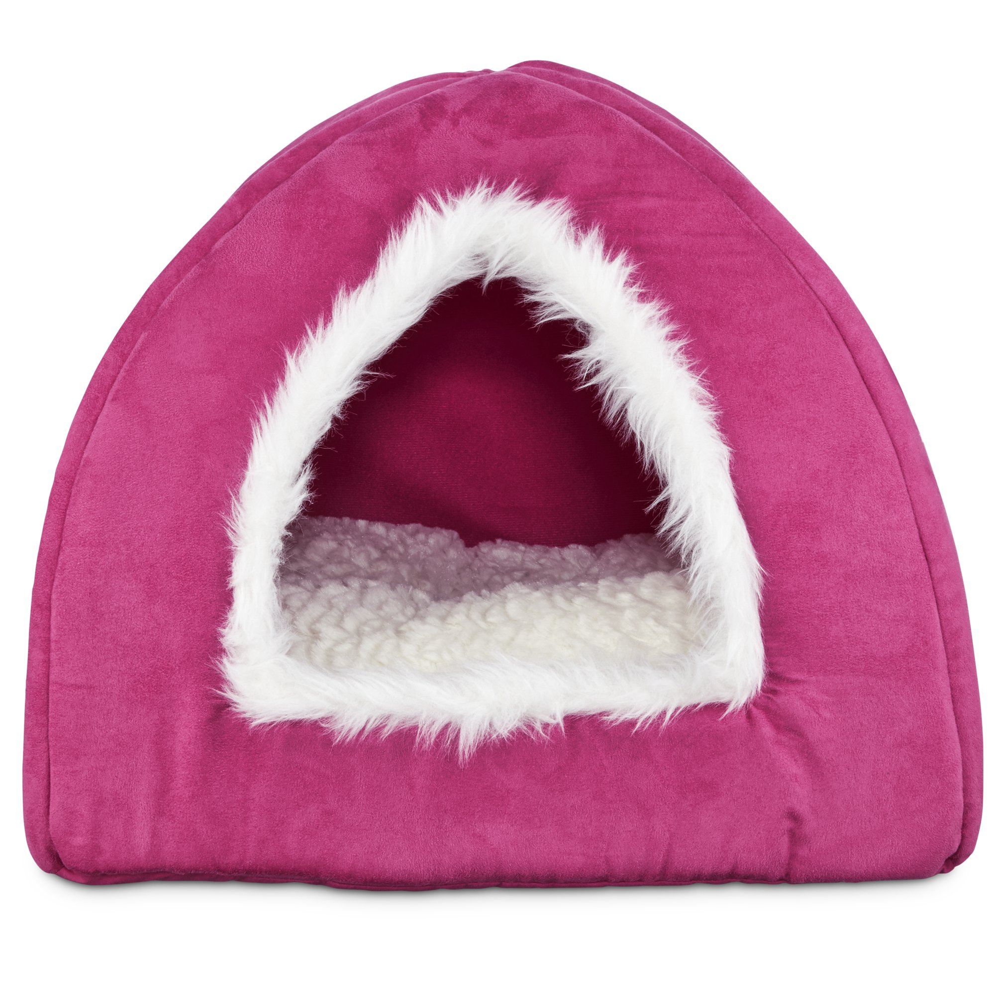 Harmony Hooded Igloo Cat Bed In Raspberry Petco