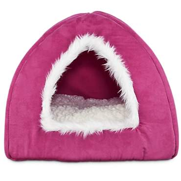 Harmony Hooded Igloo Cat Bed in Raspberry