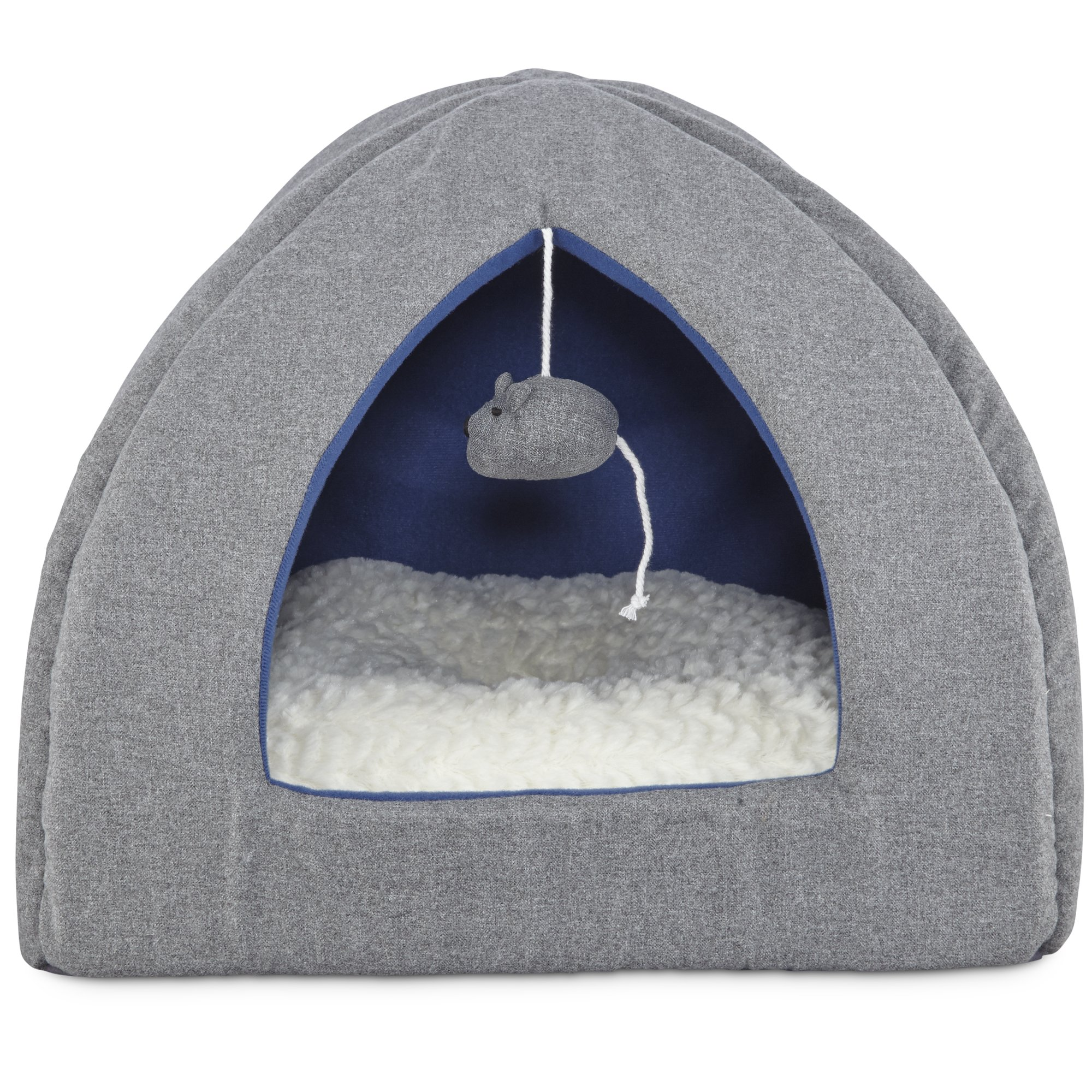 Harmony Hooded Igloo Cat Bed In Grey Petco