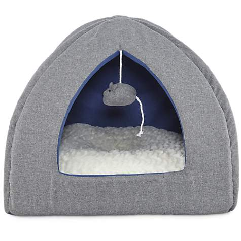 Harmony Hooded Igloo Cat Bed In Grey Petco