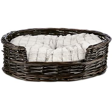 Harmony Wicker Cat Bed with Faux Fur Insert