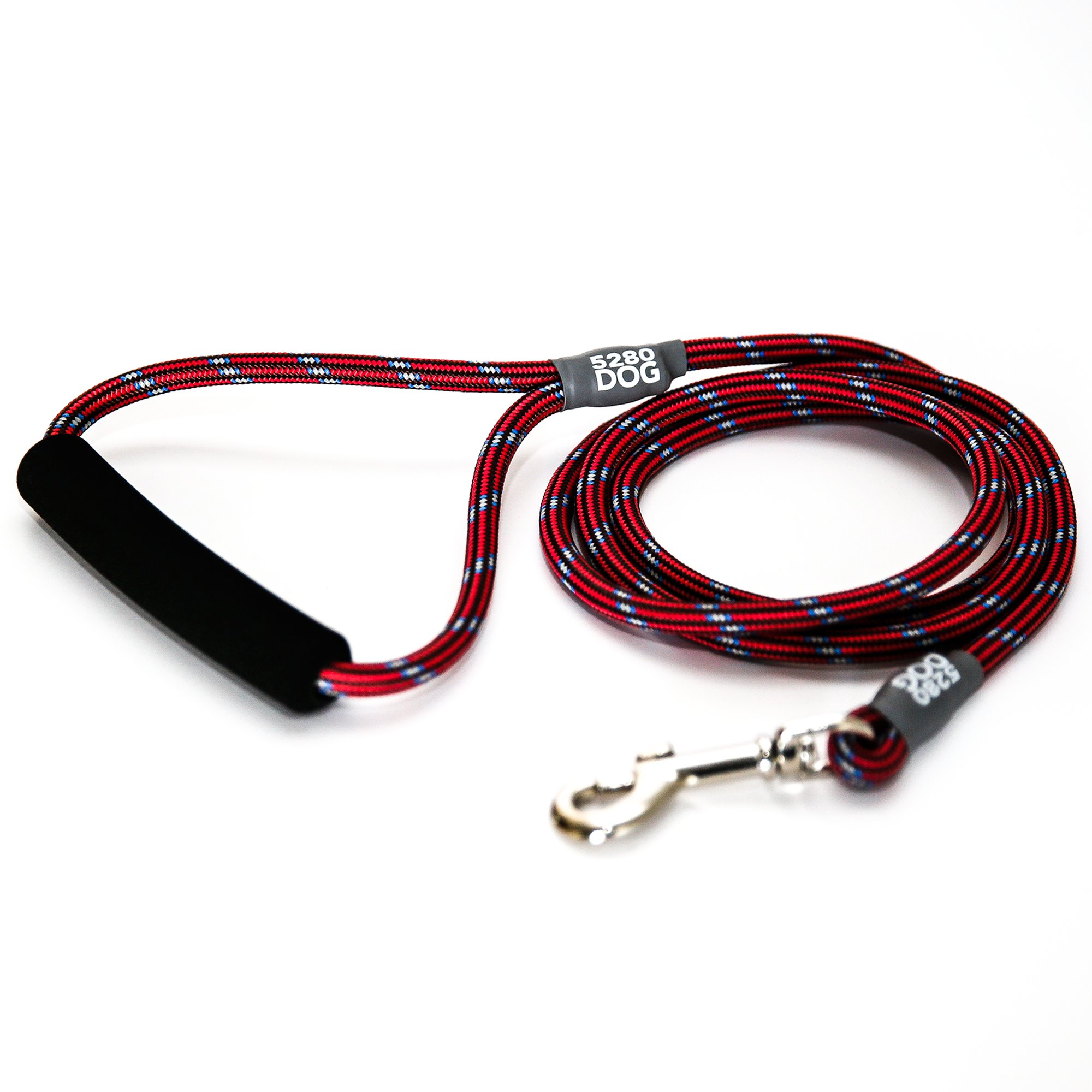 5280DOG Red Braided Rope Leash, Medium 5'