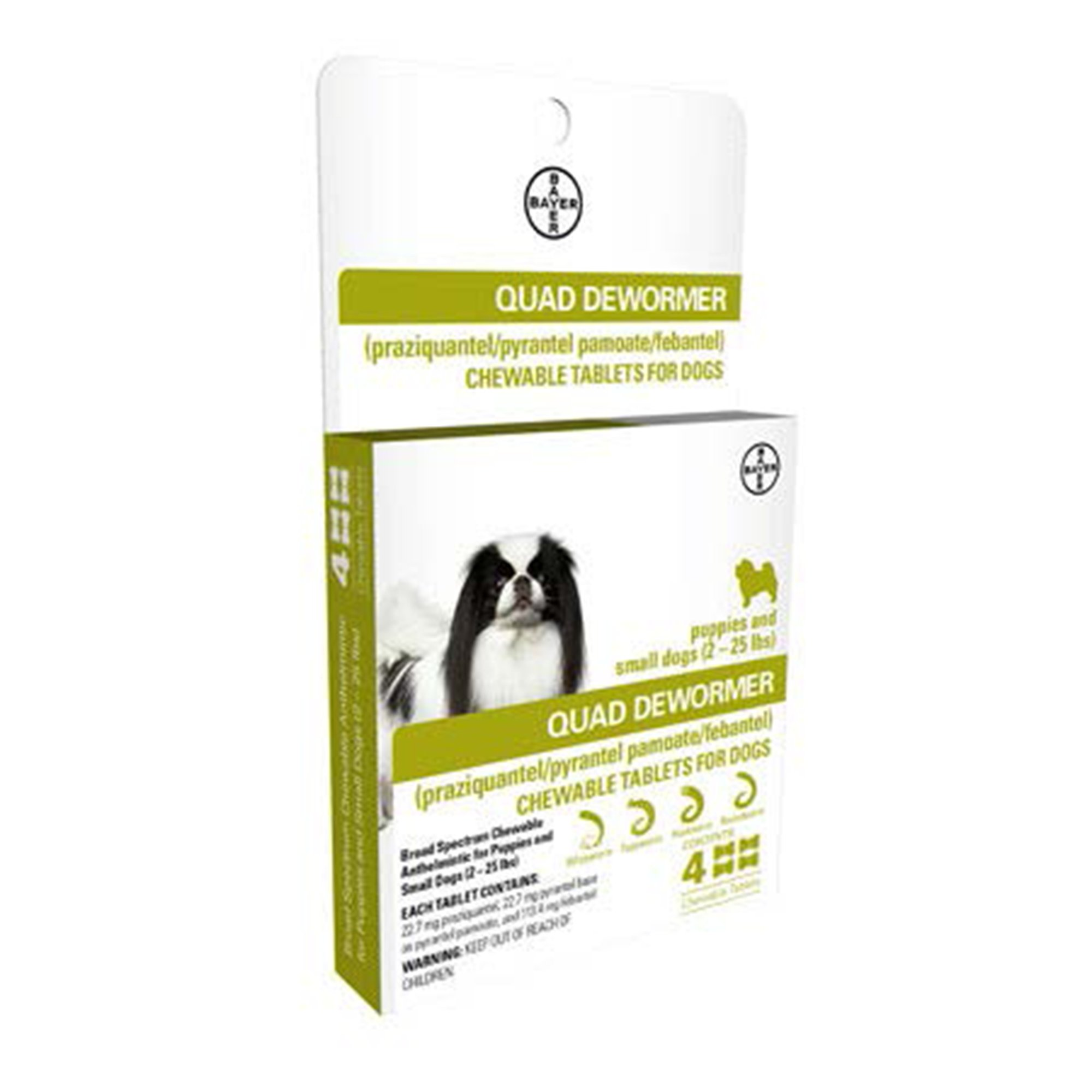 Bayer Quad Dewormer Tablets for Dogs 2-25lbs, 4 pack   Petco