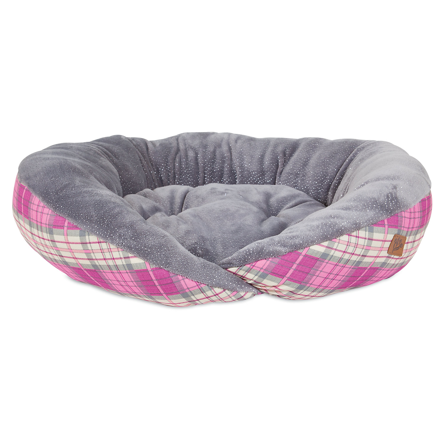 Mutt Nation Fueled By Miranda Lambert Plush Lounger Dog Bed In Pink Plaid 26 L X 23 W Small