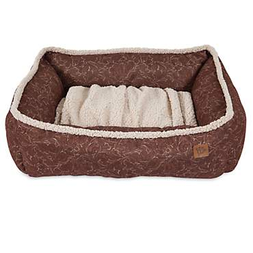 Mutt Nation Fueled by Miranda Lambert Lambswool Tooled Leather Printed Cuddler Dog Bed in Brown