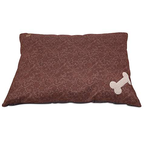 Mutt Nation Fueled by Miranda Lambert Bone Pillow Dog Bed in Brown Tooled Leather Print