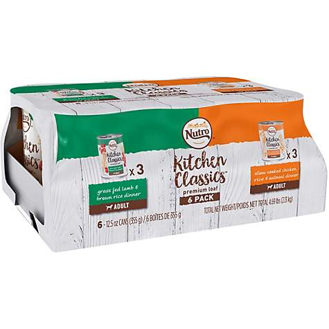 Nutro Kitchen Classics Dog Food Variety Pack: Grass Fed Lamb & Brown Rice Dinner And Slow Cooked Chicken, Rice & Oatmeal Dinner
