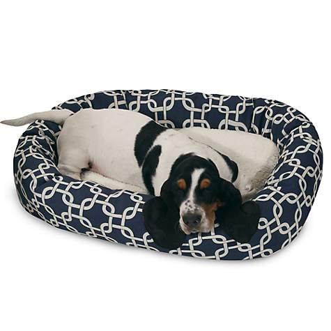 Majestic Pet Navy Blue Links Sherpa Bagel Bed