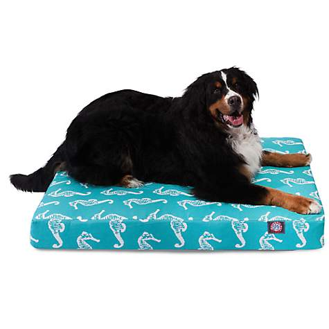 Majestic Pet Teal Sea Horse Orthopedic Memory Foam Rectangle Dog Bed