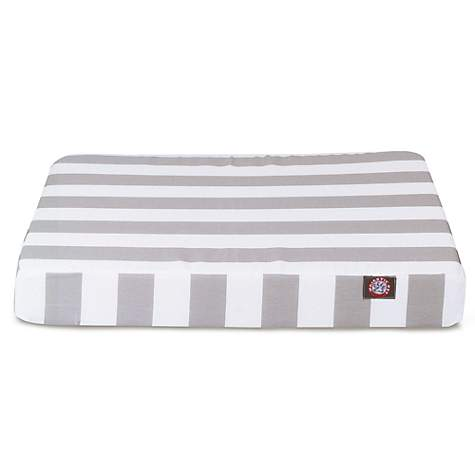 Majestic Pet Gray Vertical Stripe Orthopedic Memory Foam Rectangle Dog Bed