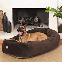 Majestic Pet Chocolate Suede Bagel Dog Bed