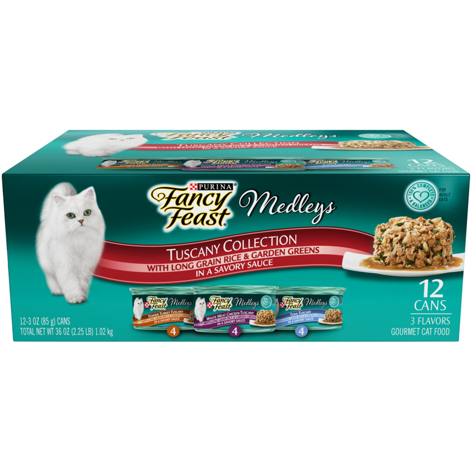 Purina Fancy Feast Medleys Tuscany Wet Cat Food Variety Pack, 3 oz., Count of 12