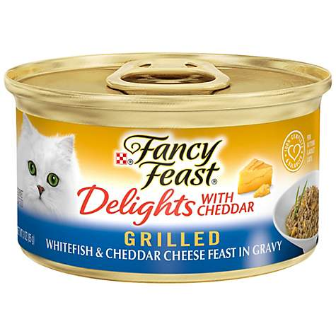 Fancy Feast Delights with Cheddar Grilled Feast in Gravy Gourmet Cat Food, Whitefish & Cheddar Cheese