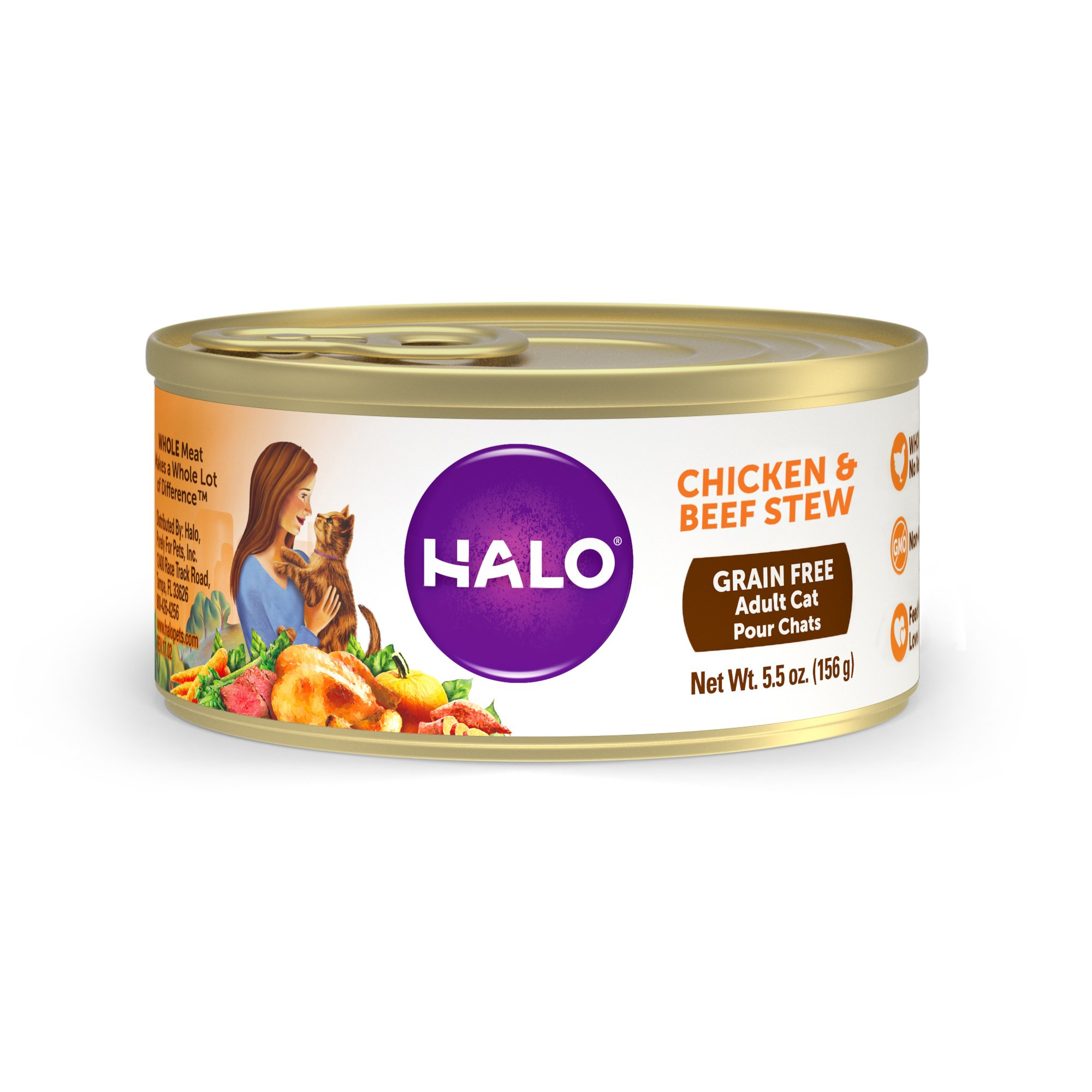 Halo Spot's Stew Wholesome Chicken & Beef Recipe Canned Cat Food