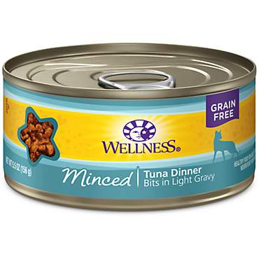Wellness Natural Canned Grain Free Minced Tuna Dinner Wet Cat Food