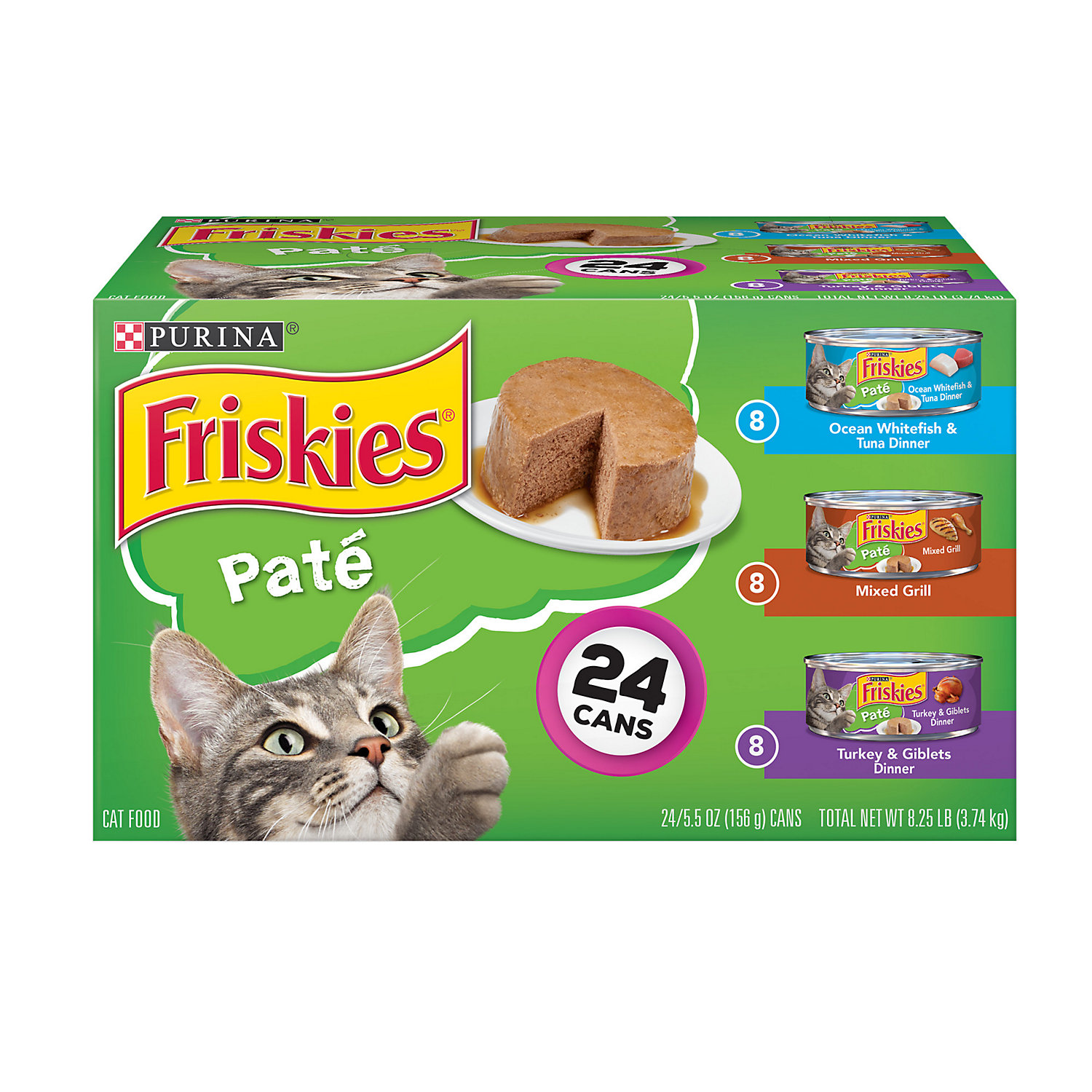 Friskies Mixed Grill Ocean Whitefish Tuna Dinner Turkey Giblets Dinner Loaf Variety Pack Canned Cat Food