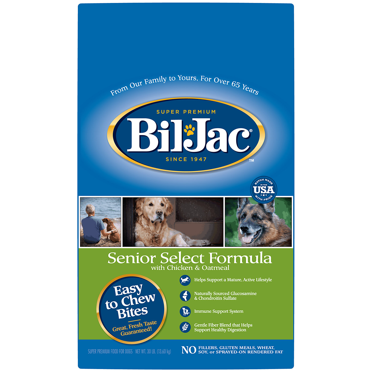 Bil Jac Senior Select Dry Dog Food With Chicken Oatmeal 30 Lbs.
