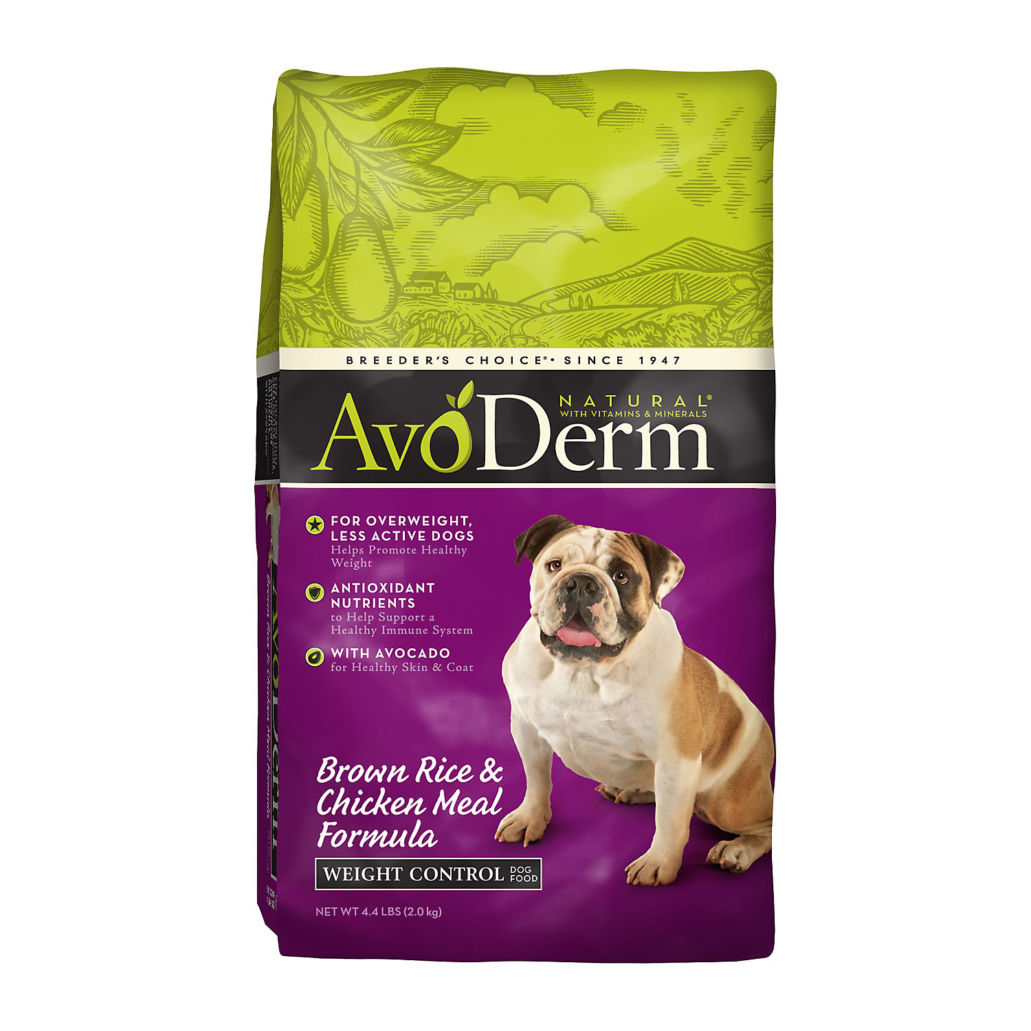 Avoderm Natural Brown Rice Chicken Meal Formula Weight Control Adult Dog Food 4.4 Lbs. 4.4 Lb Bag