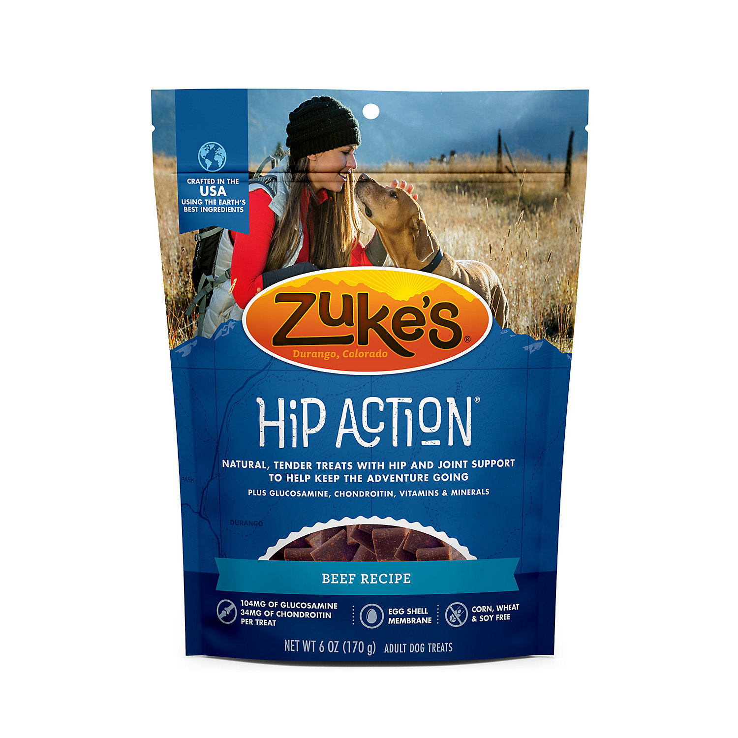 Zukes Hip Action Hip Joint Support Roasted Beef Dog Treats 6 Oz.