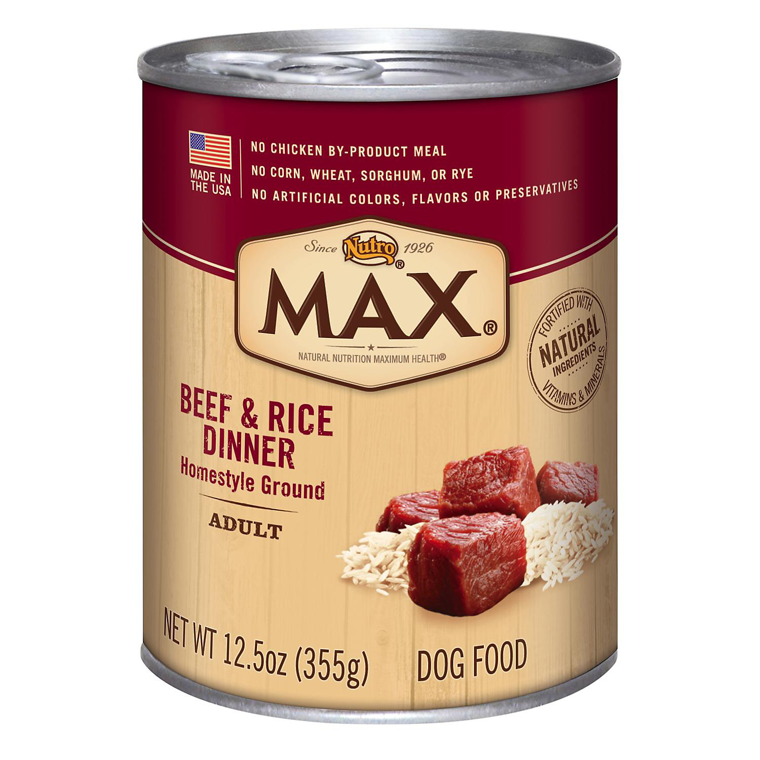 Nutro Max Beef Rice Dinner Adult Canned Dog Food Recipe 12.5 Oz. Case Of 12
