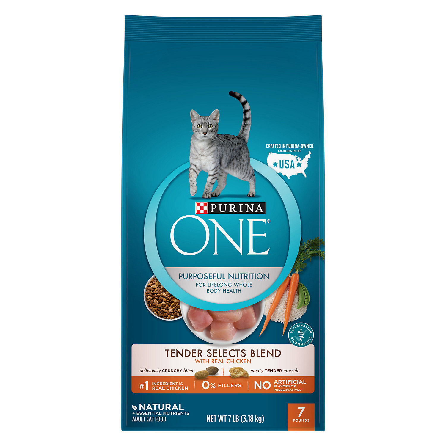 Purina One Tender Selects Blend With Real Chicken Cat Food 7 Lb. Bag