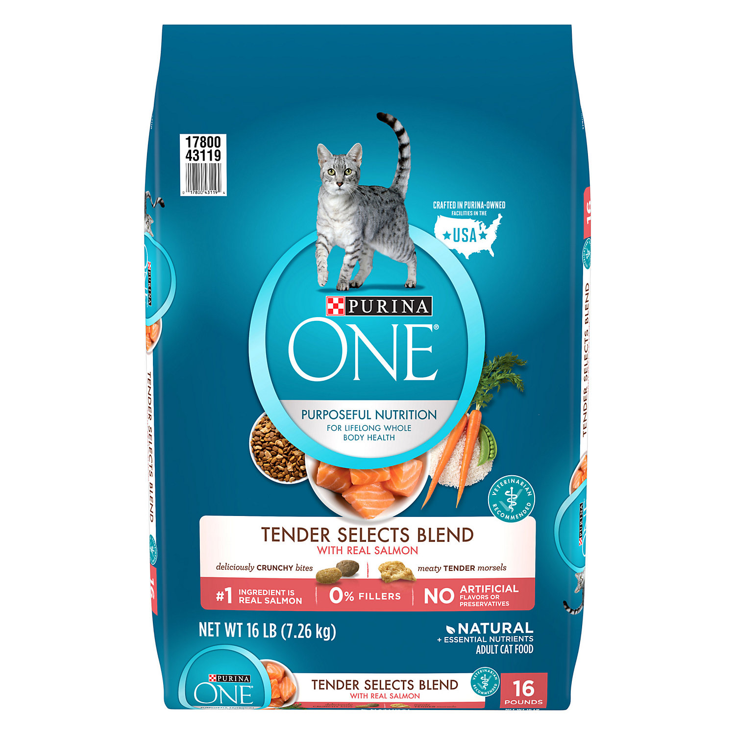 Purina One Tender Selects Salmon Tuna Flavor Cat Food 7 Lbs.