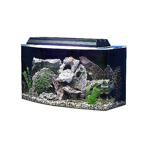 Seaclear bowfront 36 gallon aquarium combos in black petco for Petco small fish tank