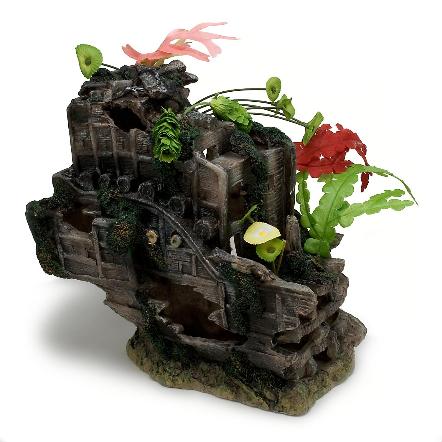 Penn plax sunken gardens shipwreck stern aquarium decor for Aquarium decoration shipwreck