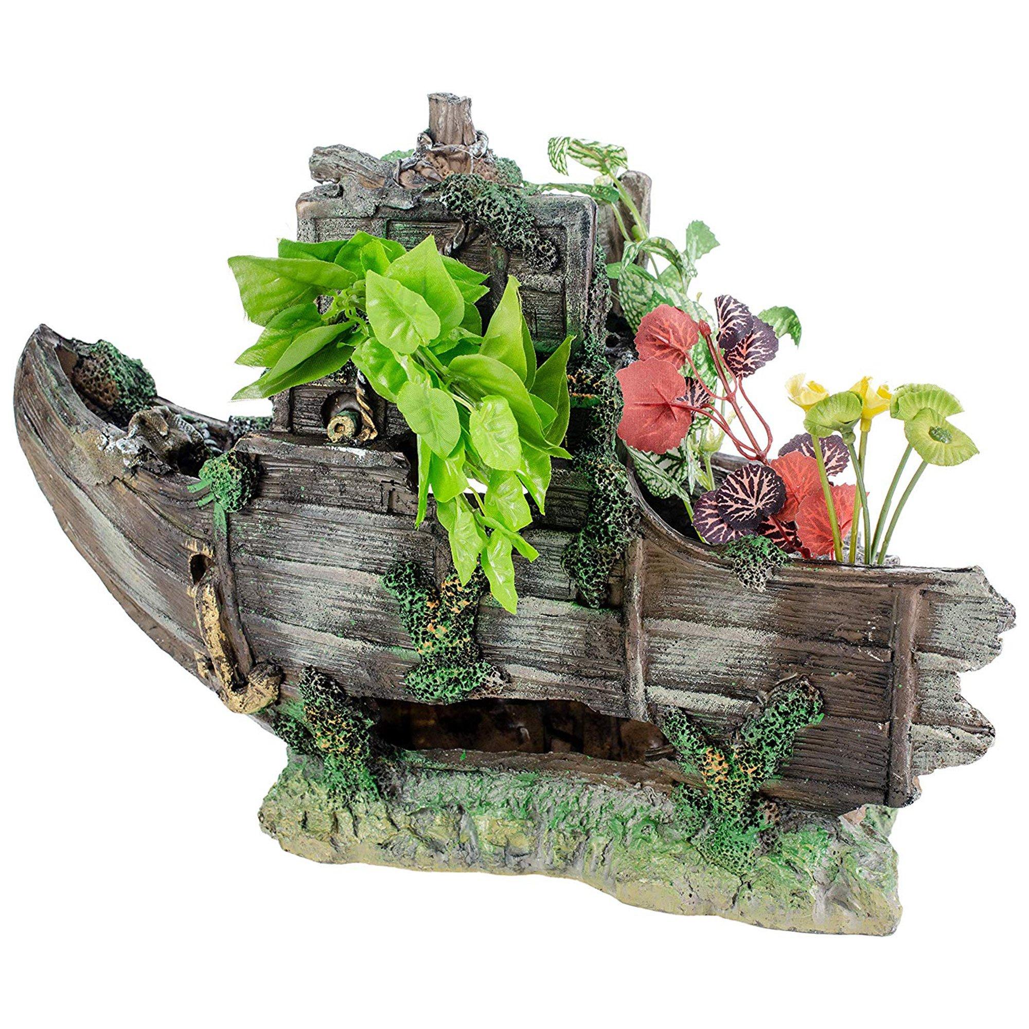 Penn plax sunken gardens shipwreck bow aquarium decor petco for Petco fish tank decor