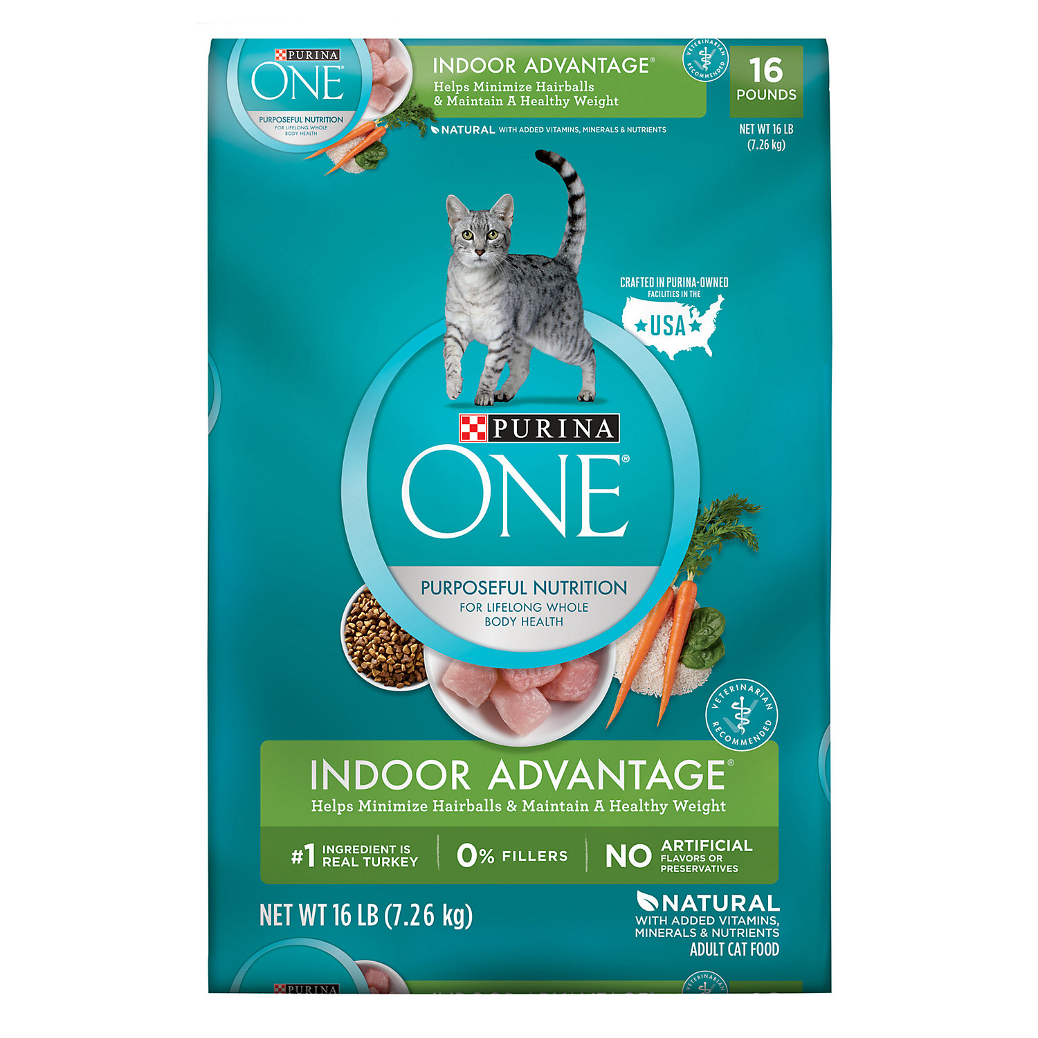 Purina One Indoor Advantage Hairball Healthy Weight Cat Food 16 Lbs.