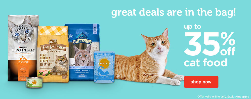 up to 35% off cat food - shop now