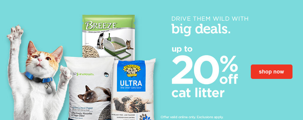 up to 20% off cat litter - shop now