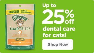 Up to 25% off dental care for cats - shop now
