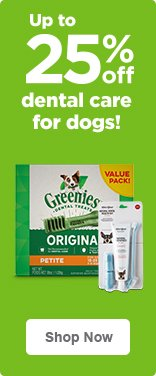 Up to 25% off dental care for dogs- shop now