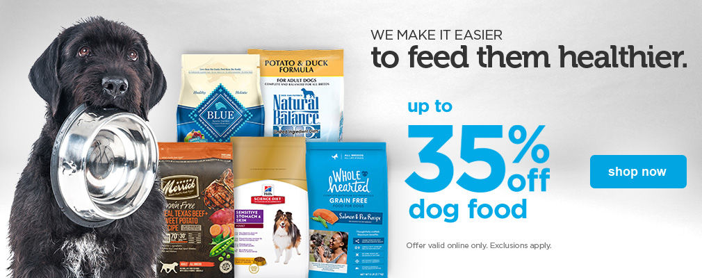up to 35% off dog food - shop now