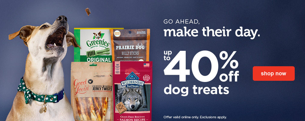 Up to 40% off dog treaets - shop now