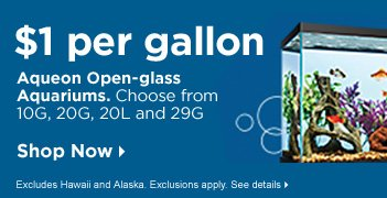 $1 Per Gallon Aqueon Open-Glass Aquariums - Shop Now