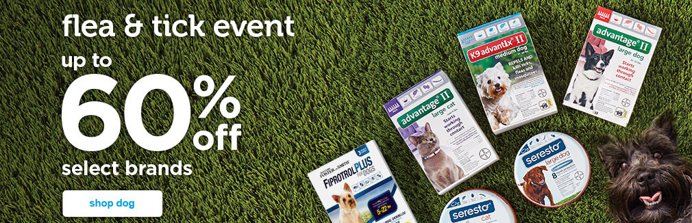 up to 60% off select dog flea & tick brands - shop now