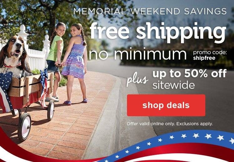 up to 50% off sitewide plus free shippiung with promo code: shipfree - shop deals